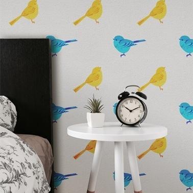 Artikel Kuş Stencil Tasarımı 30 x 30 cm Renkli
